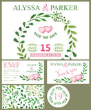 Wedding invitation card.Watercolor green branches,pink heart Stock Images