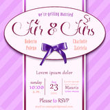 "Wedding invitation card for wedding couples with RSVP template ""mr"" and ""mrs"". Royalty Free Stock Images"