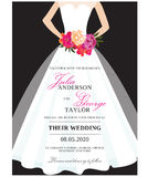 Wedding Invitation card with wedding dress. Bridal Shower Invitation card with branch Stock Images