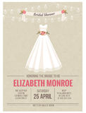 Bridal Shower Invitation card with wedding dress Royalty Free Stock Photos