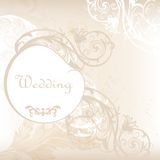 Wedding invitation card in white and grey with floral ornament Stock Photography
