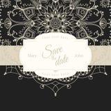 Wedding invitation card with white mandala on black background, illustration Stock Image