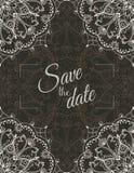 Wedding invitation card with white mandala on dark background, illustration Stock Photography
