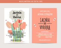 Wedding Invitation Card With Romantic Flower Templates Royalty Free Stock Image