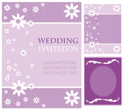 Wedding invitation cards. A variety of purple wedding invitation layouts against white background stock illustration