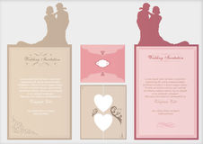 Wedding invitation cards. Two wedding invitation cards with envelopes Stock Image