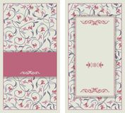 Wedding invitation cards baroque style. Vintage Pattern. Damascus style ornament. Frame with flowers elements. Royalty Free Stock Photo