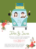 Wedding invitation cards with bride and groom on the car. vintag Stock Photography