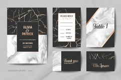 Wedding Invitation Cards Collection. Save the Date, RSVP, Signs with trendy marble texture background geometric frame. Wedding Invitation Cards Collection. Save vector illustration