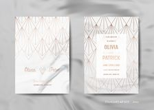 Wedding Invitation Cards Collection. Save the Date, RSVP with trendy marble texture background gold geometric art deco. Wedding Invitation Cards Collection. Save stock illustration