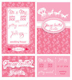 Wedding invitation cards with floral elements Stock Images