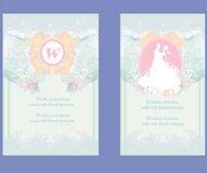 Wedding invitation cards with floral elements. Royalty Free Stock Photo