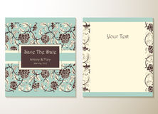 Wedding invitation cards with floral elements Stock Photography