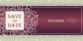 Wedding invitation cards with floral elements. Royalty Free Stock Photography