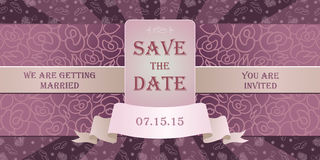 Wedding invitation cards with floral elements. Stock Photography