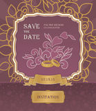Wedding invitation cards with floral elements. Royalty Free Stock Images