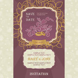 Wedding invitation cards with floral elements. Stock Photo