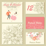 Wedding invitation cards with a floral pattern and a cute colorful illustration of a dancing couple in cartoon style. royalty free illustration