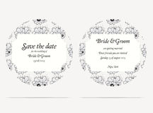 Wedding invitation cards with grey flowers Stock Images