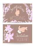 Wedding invitation cards with hand drawn bride and groom hands and flowers Royalty Free Stock Photo