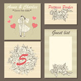 Wedding invitation cards with a hand-drawn floral pattern and a cute illustration of a couple in cartoon style. Stock Photos