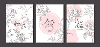 Wedding invitation cards with hand drawn roses.Floral poster, invite. Vector decorative greeting card,invitation design background.  vector illustration