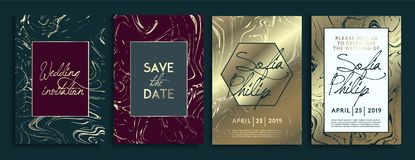 Wedding invitation cards with marble texture background and gold geometric line design vector. Wedding invitation frame set royalty free illustration