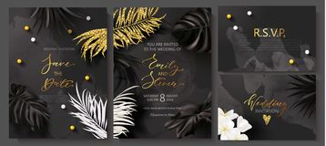 Wedding invitation cards with marble texture,beads,tropical flowers and plants and Golden sequins.Vector illustration. vector illustration
