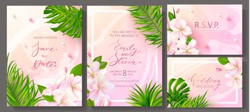 Wedding invitation cards with marble texture,beads, tropical flowers and plants.Vector illustration. stock illustration