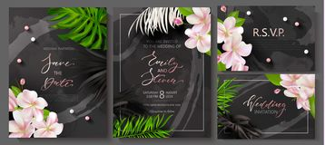 Wedding invitation cards with marble texture,beads, tropical flowers and plants.Vector illustration. vector illustration