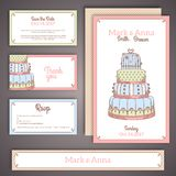 Wedding invitation cards in pastel colors. Editable set with cake. Vector illustration. Save the date, RSVP Royalty Free Stock Images