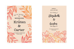 Wedding invitation cards with red elegant floral elements. Greeting card Royalty Free Stock Photos
