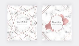 Wedding invitation cards with rose gold geometric design, polygonal lines and foil brush paint stroke on the marble texture. Backg. Round for celebration, flyer stock illustration