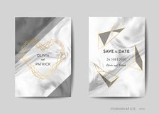 Wedding Invitation Cards, Save the Date with trendy marble texture background and gold geometric frame design. Illustration in vector stock illustration