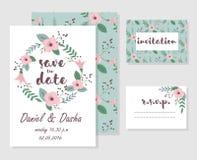 Wedding invitation cards. Set of wedding invitation floral cards Royalty Free Stock Photos
