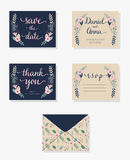 Wedding invitation cards. Set of wedding invitation floral cards Royalty Free Stock Images