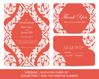 Wedding invitation cards set with thai painting. Elements Royalty Free Stock Photography