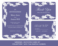 Wedding invitation cards set with thai painting Royalty Free Stock Images