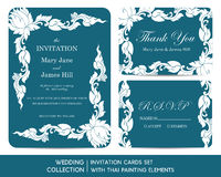 Wedding invitation cards set with thai painting. Elements Stock Photography