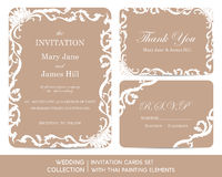 Wedding invitation cards set with thai painting Royalty Free Stock Image