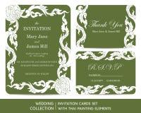 Wedding invitation cards set with thai painting Stock Photo