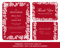 Wedding invitation cards set with thai painting. Elements Stock Photos