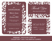 Wedding invitation cards set with thai painting Stock Image