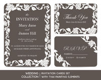 Wedding invitation cards set with thai painting Royalty Free Stock Photos