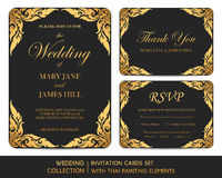 Wedding invitation cards set with thai painting. Elements Stock Photo