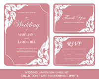 Wedding invitation cards set with thai painting. Elements Royalty Free Stock Image