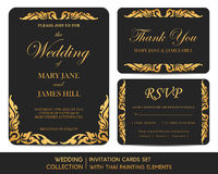 Wedding invitation cards set with thai painting. Elements Stock Image