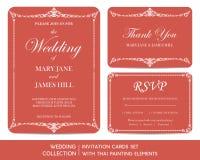 Wedding invitation cards set with thai painting Stock Photos