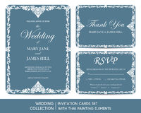 Wedding invitation cards set with thai painting. Elements Stock Images
