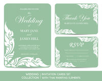 Wedding invitation cards set with thai painting. Elements Royalty Free Stock Photo
